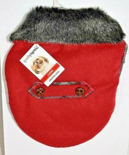 SimplyDog - Red Plaid Black Tab Jacket/Coat  Small