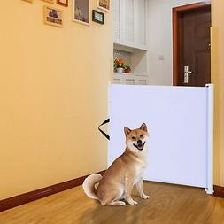 PawHut Retractable Pet Safety Gate Folding Stair Barrier Gua