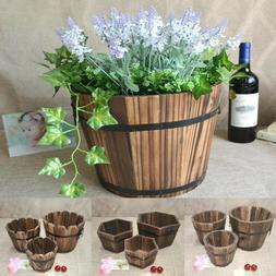 Retro Wooden Barrel Succulent Plants Flower Pots Home Garden
