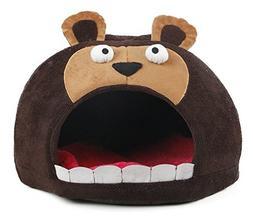 Roar Bear Snuggle Plush Polar Fleece Pet Bed, Dark Brown, On