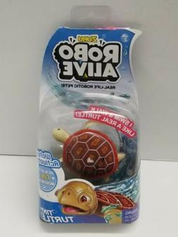 Zuru Robo Alive Tiny Red Wood Turtle Bath Pool Water Activat