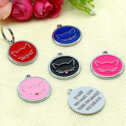 Round Custom Dog Cat Tags Engraved Pet Puppy Kitten ID Name