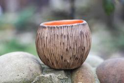 Handmade Rustic Round Succulent planter Ceramic pot for cact