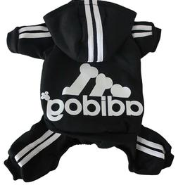 S Adidog Pet Clothes Black w/ White Dog Hoodie Coat Sweatshi