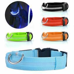 Safety Dog LED Collar Blinking Night Flashing Light Up Glow