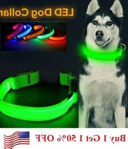 SAFETY LED Dog Pet Light Up Collar Night Glow Adjustable Bri