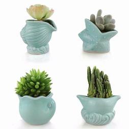seashell succulent pots 4pcs ceramic planters of