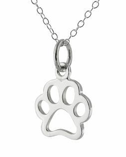 Silver Paw Print Charm Necklace Dog Cat Pet Friend Handmade