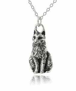 Sitting Cat Pendant Necklace - 925 Sterling Silver - Charm K
