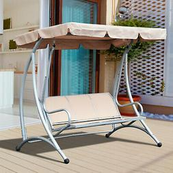 Outsunny Sling Fabric 3 Person Steel Outdoor Patio Porch Swi