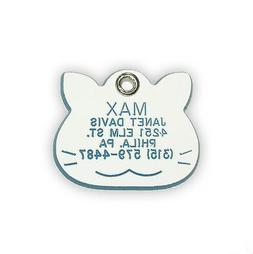 Small Cat Shaped Pet ID Tag  Acrylic Plastic Personalized Re
