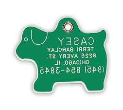 Small Dog Shaped Pet ID Tag Plastic Acrylic Personalized Ref