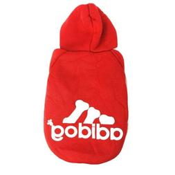 Adidog Small Dogs Puppy Apparel Red Hoodie Sweater Warm T Sh