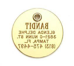 Small Elegant Brass Dog Cat Pet ID Tag Personalized, Reflect