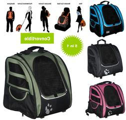 Small Pet Dog Backpack Carrier W Wheels 5 in 1 Convertible C