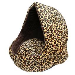 Pet Dog Cat Bed House Kennel Leopard Print Puppy Soft Warm C