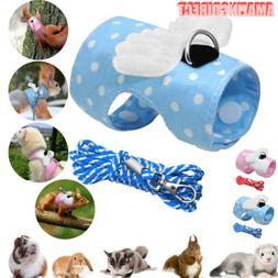 Soft Rabbit Hamster Vest Harness Leash Bunny Bowknot Chest S