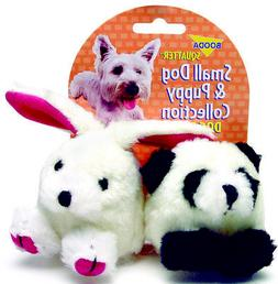 Aspen Pet Squatter Plush Panda/Rabbit Stuffed Dog  Toy, Sque