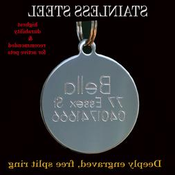 Stainless Steel Circle Pet Dog Cat Tags Free Customised Pers