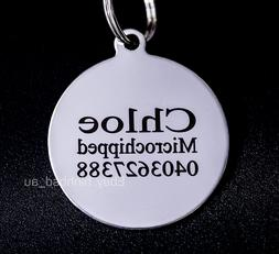 Stainless Steel Circle Round Pet Tag Free Engraving Personal