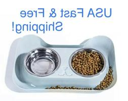 Stainless Steel Dog Cat Double Feeding Bowls Pet Bowl Water