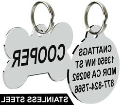 Stainless Steel Pet ID Tags Dog Tags Personalized Front and