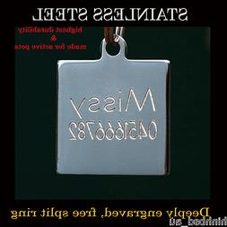 Stainless Steel Square Pet Dog Cat Tags Small Customised Per