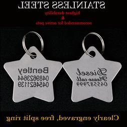 Stainless Steel Star Pet Tag Free Engraving Personalised Cus