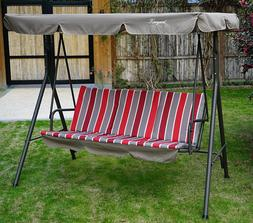 Swing With Canopy Red Cushion Stand Steel Frame 3 Person Adj