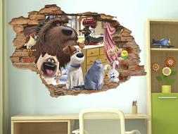The Secret Life of Pets 3D Wall Decal, Wall Sticker, Removab