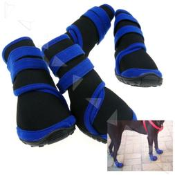 Two Pairs Waterproof Pet Dog Boots Protective Rain Shoes Bla