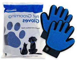 UPGRADED PAIR Pet Grooming Gloves Brush Dog Cat Fur Hair Rem