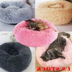 US Fur Donut Cuddler Pet Calming Bed Dog Beds Soft Warmer Me