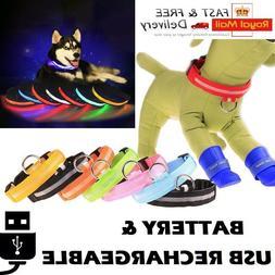 USB Rechargeable LED Dog & Cat Pet Collar Flashing Luminous