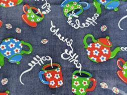 Vintage Coffee Break Denim Look Fabric Coffee Pots, Cups Blu