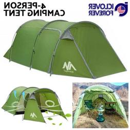Waterproof Camping Tent 3-4 Person Dome Family Tunnel Tent D