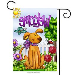 Welcome Dog Spring Garden Flag Cute Pets Flowers Butterfly P