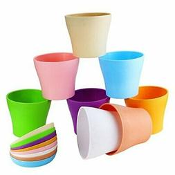 """Weoxpr 8 Pack 5"""" Multicolored Plastic Flower Plant Pots Thic"""