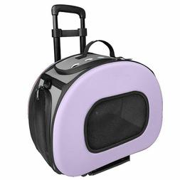 Pet Life Wheeled Tough-Shell Lavender Collapsible Pet Carrie