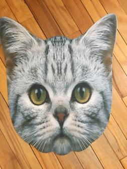 Whimsical Gray Cat Face Indoor Outdoor Welcome Mat Kitty Meo