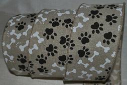 "Wired Ribbon~Black Paw Print~White Dog Bone~Tan~2.5""~Wreath~"
