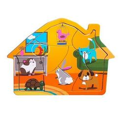 Eliiti Wooden Pets Animals Jigsaw Puzzle for Toddlers 2 to 4