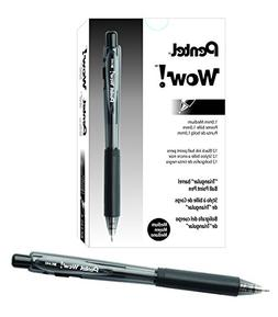 Pentel WOW! Retractable Ballpoint Pens, Medium Line, Black I