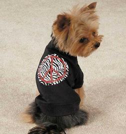 Zack & Zoey Zebra Peace Sign Dog T-Shirt Tee Black Pet Top N
